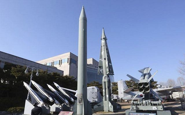 In this Feb. 2, 2017 file photo, a mock North Korea's Scud-B missile, center left, and South Korean missiles are displayed at Korea War Memorial Museum in Seoul, South Korea. (AP/Ahn Young-joon)