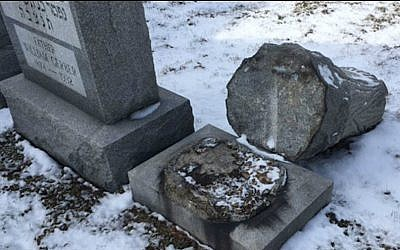 Headstones toppled at the Waad Hakolel Cemetery, also known as the Stone Road Cemetery, in March 2017 in Rochester, NY (Courtesy of News 10 NBC WHEC)