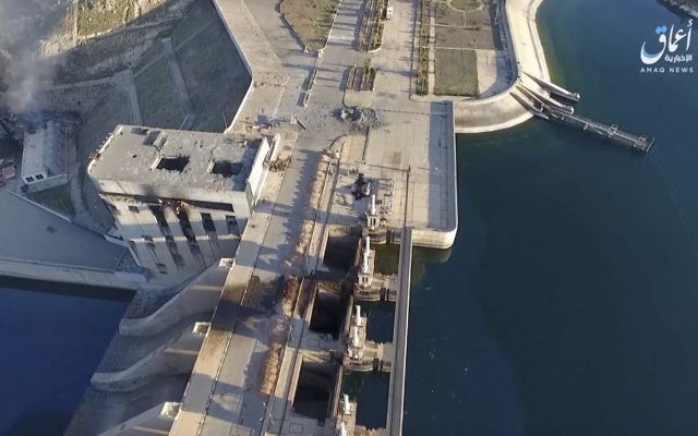 The Tabqa Dam, in Raqqa, Syria, March. 27, 2017. (Drone footage, Aamaq News Agency, a media arm of the Islamic State group, via AP)