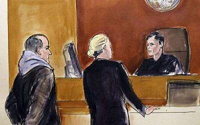 In this courtroom drawing, Elvis Redzepagic, left, appears before Magistrate Judge Robert Levy, right, Saturday, March 4, 2017 in New York, during his arraignment on charges that he attempted to provide material support to a foreign terrorist organization. (Elizabeth Williams via AP)