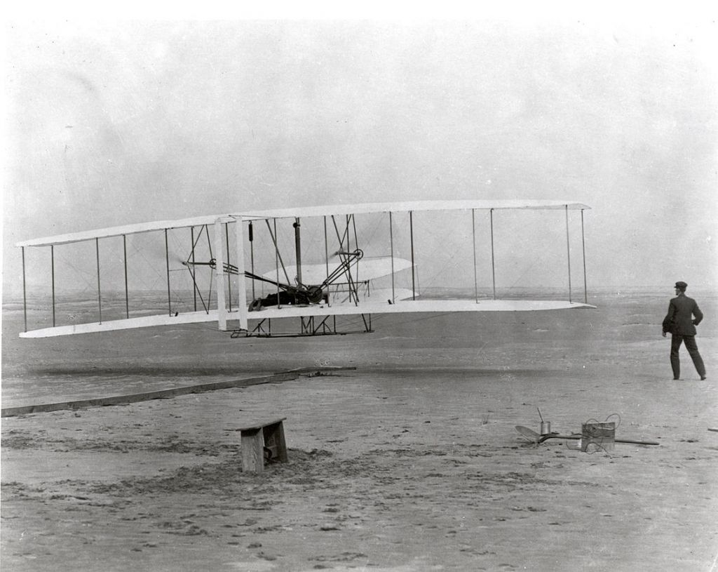 Orville Wright piloted the first heavier than air flight on December 17, 1903. (Public domain)