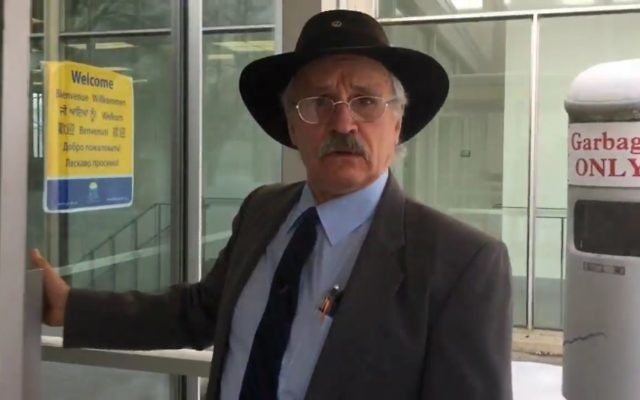Arthur Topham, convicted of online hate crimes, arrives in court for sentencing in British Columbia, Canada on March 13, 2017. (Screen capture: Twitter video)
