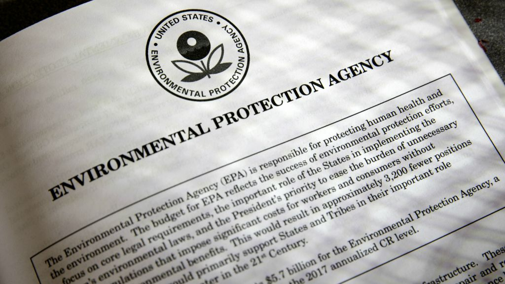 A proposal for the Environmental Protection Agency (EPA) in President Donald Trump's first budget, displayed at the Government Printing Office in Washington, March 16, 2017. (AP Photo/J. Scott Applewhite)