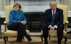 US President Donald Trump meets with German Chancellor Angela Merkel in the Oval Office of the White House in Washington, Friday, March 17, 2017. (AP Photo/Evan Vucci)