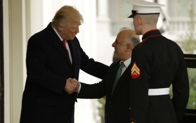 US President Donald Trump greets Iraqi Prime Minister Haider al-Abadi upon his arrival to the White House on March 20, 2017. (Evan Vucci/AP)