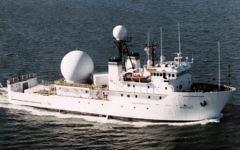 The USNS Invincible tracking ship (Public domain, US Navy, Wikipedia)