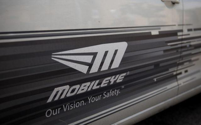 The Mobileye logo on a car in Jerusalem, March 14, 2017. (Yonatan Sindel/Flash90)