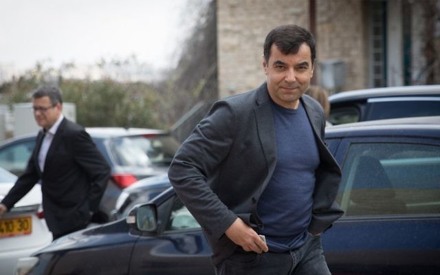 Amnon Shashua, co-founder and chairman of Mobileye arrives at a Mobileye and Intel Workers Conference in Jerusalem, March 14, 2017. (Yonatan Sindel/Flash90)
