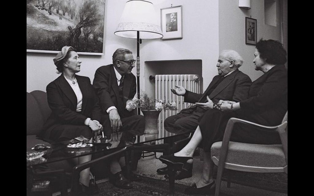 Rubinger photographed David Ben Gurion and his wife, Paula, entertaining French politician Jules Moch and his wife in 1957 (Courtesy David Rubinger/ Knesset collection)