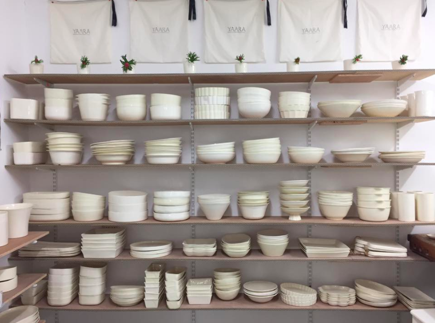 A glance at the wall of eggshell ceramics from Yaara Nir Kachlon's moshav studio in southern Israel (Courtesy Yaara Nir Kachlon)