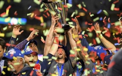 The US team celebrates following an 8-0 win over Puerto Rico in the final of the World Baseball Classic in Los Angeles, Wednesday, March 22, 2017. (AP Photo/Mark J. Terrill)