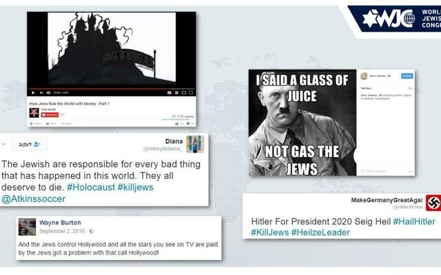 An image of some of the anti-Semitic posts found in the WJC study, an excerpt of which was released on March 24, 2017. (Courtesy WJC)
