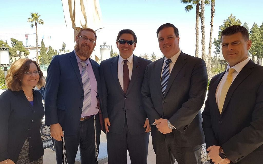 Likud MK Yehuda Glick, second left, Republican Congressman Ron DeSantis of Florida, center, and their staffs, meeting in Jerusalem on March 5, 2017. (Courtesy)