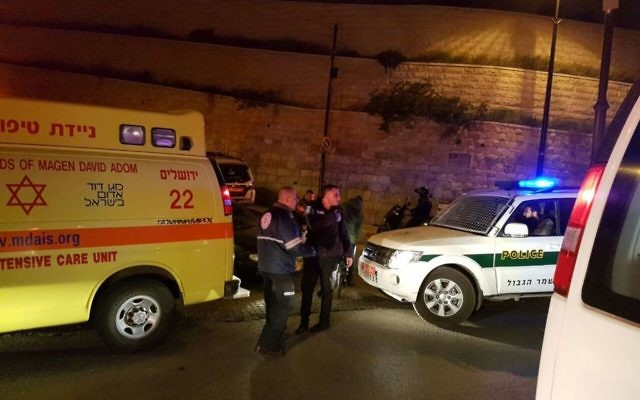 Police and medical professionals arrive to the scene of a stabbing attack in which two Border Police officers were moderately wounded, in the Old City of Jerusalem on March 13, 2017. (Magen David Adom)