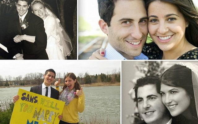 Clockwise from top left: Shlomie and Dalia Yunger; Naomie and Zvi Glustein; Gadi and Atara Yunger; Ami and Samara Yunger. (Courtesy of the Yunger family/via JTA)
