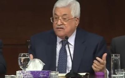 Palestinian Authority President Mahmoud Abbas addresses a graduation ceremony for public sector employees in Ramallah on March 12, 2017. (Screen capture/YouTube)