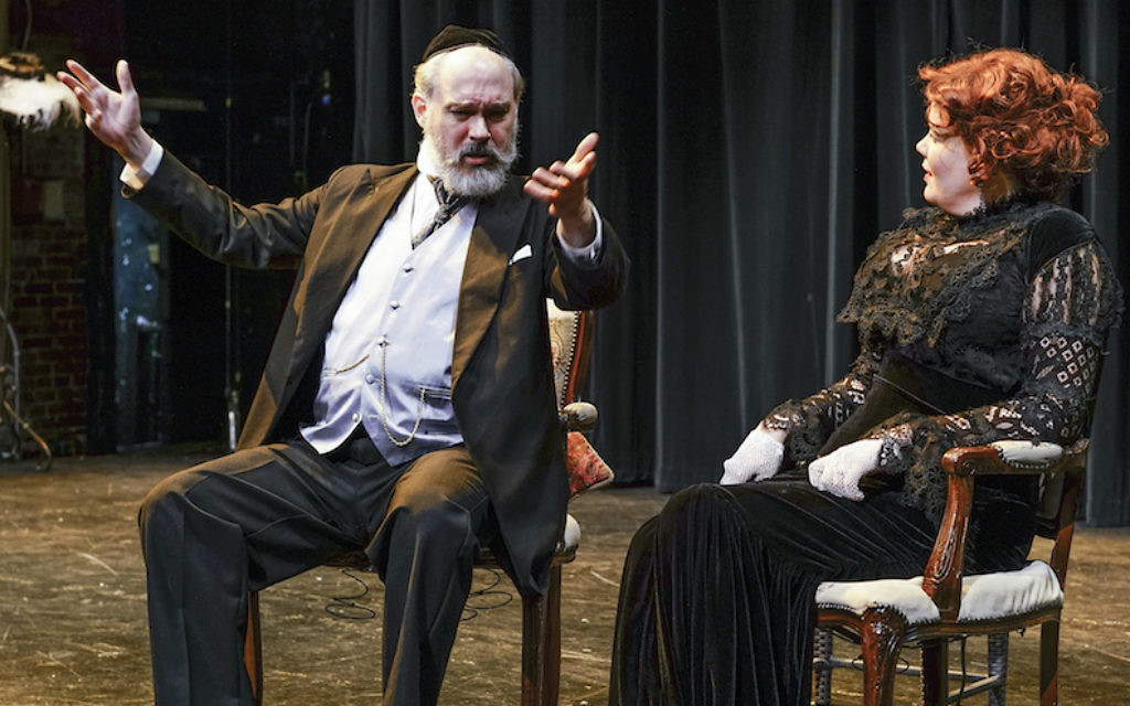 Shane Baker, left, and Caraid O'Brien in the New Yiddish Rep's current production of 'God of Vengeance.' (Ronald L. Glassman/via JTA)