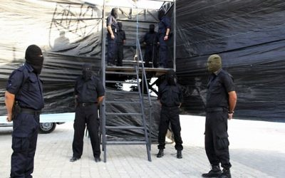 Illustrative: A gallows is prepared for an execution in Gaza, 2013 (AP/Gaza Interior Ministry)