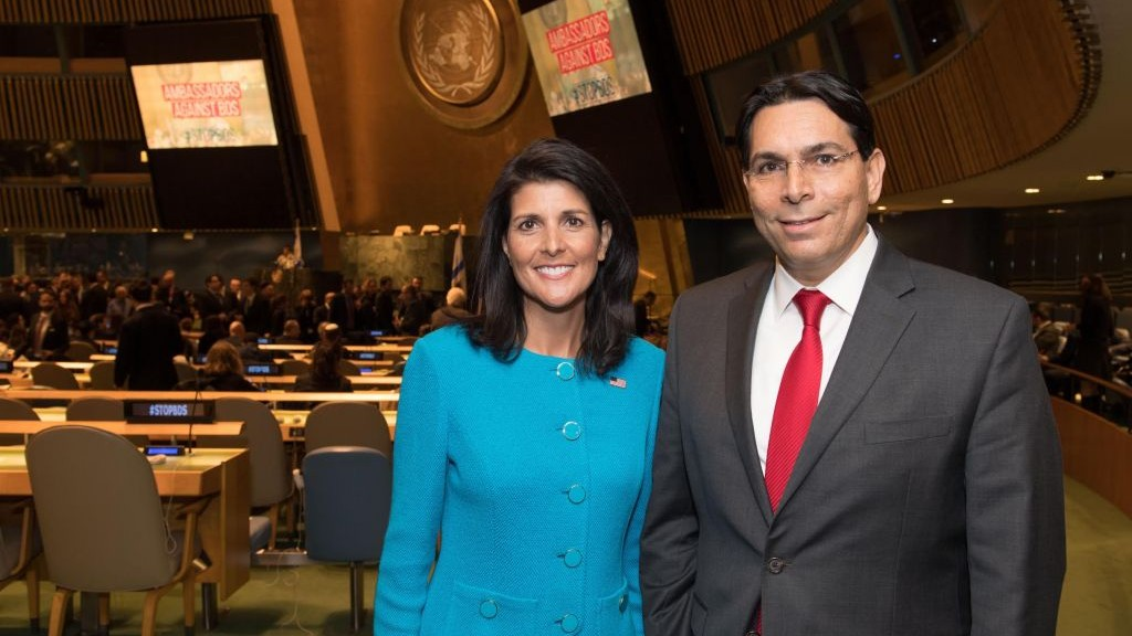 US Ambassador to the UN, Nikki Haley, and Israel's UN ambassador, Danny Danon, ahead of Build Bridges, not Boycotts conference aimed at combating BDS efforts against Israel at the UN General Assembly in New York on March 29, 2017. (Israel Mission to the UN)