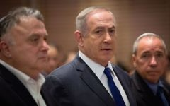 Israeli Prime Minister Benjamin Netanyahu attending a ceremony marking 25 years since the 1992 terror attack on the Israeli embassy in Buenos Aires, in Jerusalem, March 6, 2017. (Yonatan Sindel/Flash90)