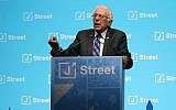 US Senator Bernie Sanders speaking at the J Street 2017 National Conference at the Washington Convention Center, Feb. 27, 2017. (Mark Wilson/Getty Images via JTA)