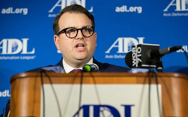 Evan Bernstein, the Anti-Defamation League's New York Regional director, speaking during a news conference at the ADL national headquarters in New York City, March 3, 2017. (Drew Angerer/Getty Images)