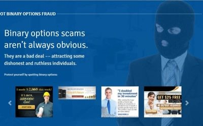 A screenshot from the Canadian government's new website designed to prevent citizens falling victim to binary options fraud, March 6, 2017.