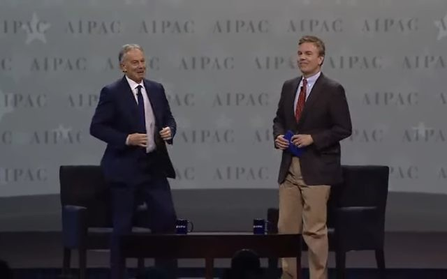 Former British prime minister Tony Blair (L) addresses the annual AIPAC convention on March 26, 2017 (YouTube screenshot)