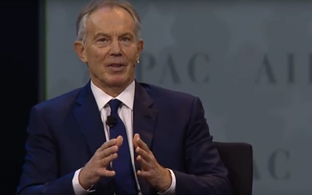 Tony Blair speaking at the AIPAC Policy Conference in Washington, March 26, 2017. (screen capture: YouTube)