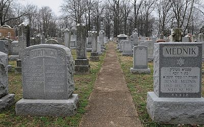 Headstones at the vandalized Chesed Shel Emeth Cemetery in University City, Mo., Feb. 22, 2017. (Michael Thomas/ Getty Images)