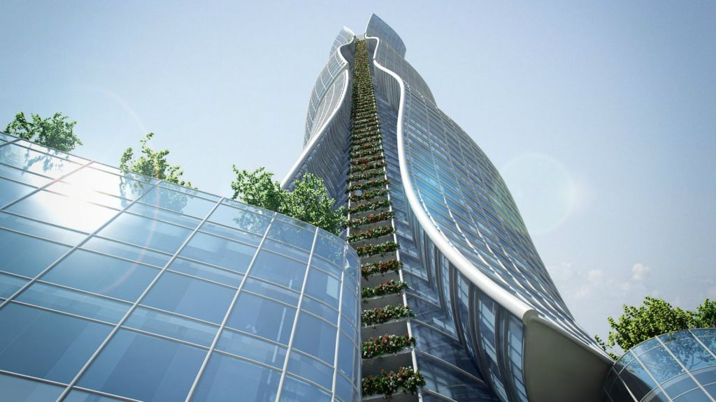 Artist's rendering of close up of proposed 'Between the cities,' 100 story skyscraper in Tel Aviv (courtesy Miloslavsky Architects)