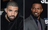 Drake, left, and Jamie Foxx performed at a recent bar mitzvah in the Netherlands. (JTA)
