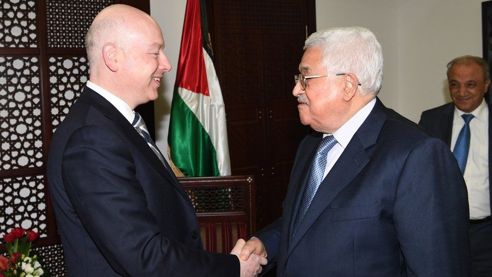 Palestinian Authority President Mahmoud Abbas (right) meets with Jason Greenblatt, the US president's assistant and special representative for international negotiations, at Abbas's office in the West Bank city of Ramallah, March 14, 2017. (WAFA)