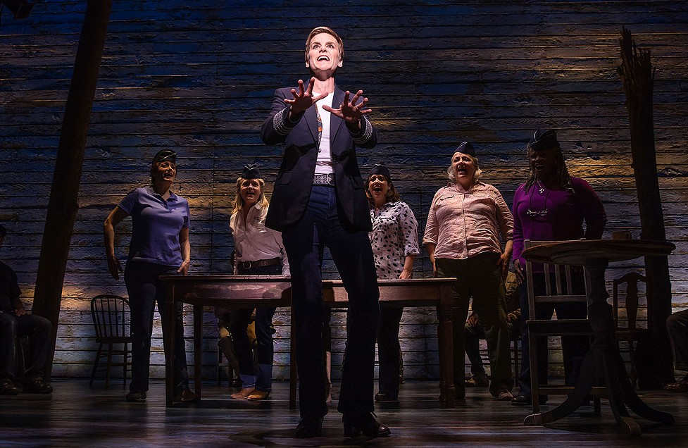 Jenn Colella and the cast of 'Come From Away.' (Photo by Matthew Murphy/Courtesy Polk and Co.)