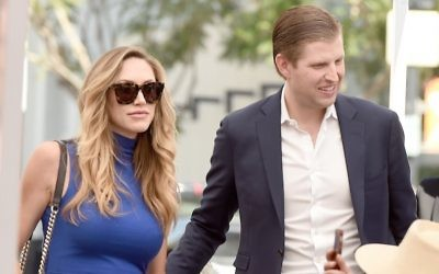 Eric Trump with his wife Lara at the Hollywood Walk of Fame in Los Angeles, March 2, 2017. (Kevin Winter/Getty Images, via JTA)