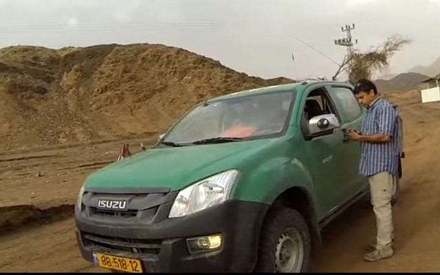 One of the Eilat vehicles of the Eilat police rescue unit arrives at the scene of the flooding early Wednesday morning March 1, 2017. (Screen capture/YouTube)