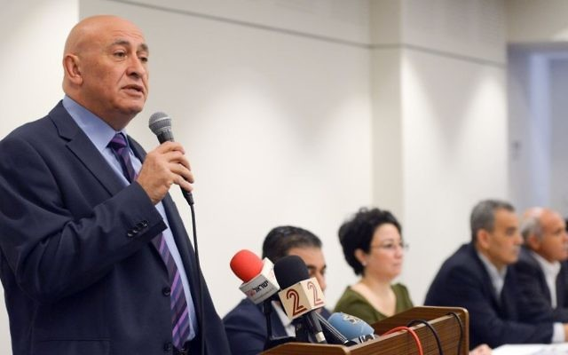 Former Joint Arab List member Basel Ghattas attends a press conference together with other members of the Balad Party in Nazareth, northern Israel, on March 17, 2017. Photo by Basel Awidat/Flash90