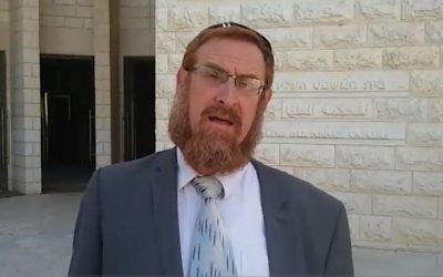 Likud MK Yehudah Glick outside the Supreme Court in Jerusalem, where he submitted a petition to allow lawmakers to visit the Temple Mount, after a ban of nearly 18 months. (Raoul Wootliff/Times of Israel)