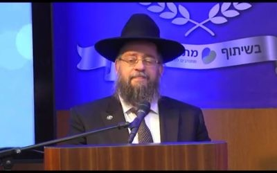 Rabbi Yeshayahu Heber, founder of Matnat Chaim, speaks at the Knesset on May 2016. (Screen capture: YouTube)