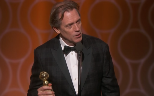 Hugh Laurie gives his acceptance speech for the Golden Globe he won for Best Supporting Actor for 'The Night Manager' on January 8, 2017. (Screen capture/YouTube)
