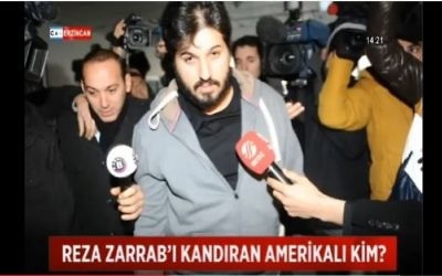 Reza Zarrab, the Turkish-Iranian gold trader accused of violating US sanctions on Iran, seen at an Istanbul police station in 2013. (screen capture: YouTube)