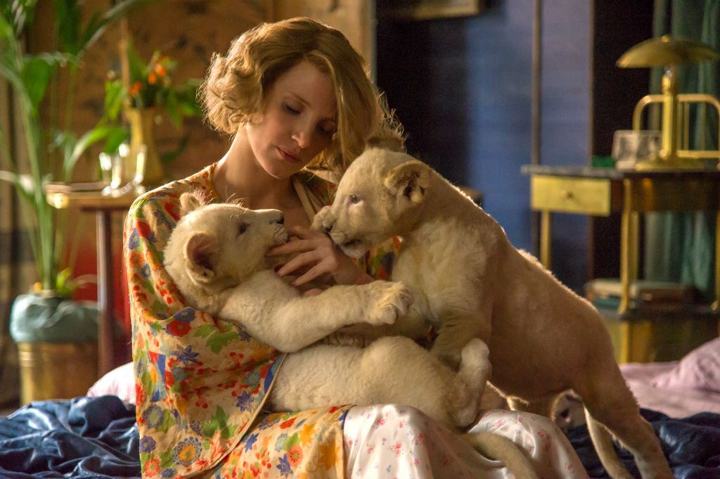 Jessica Chastain as Antonina Zabinski in 'The Zookeeper's Wife.' (Anne Marie Fox/Focus Features/via JTA)