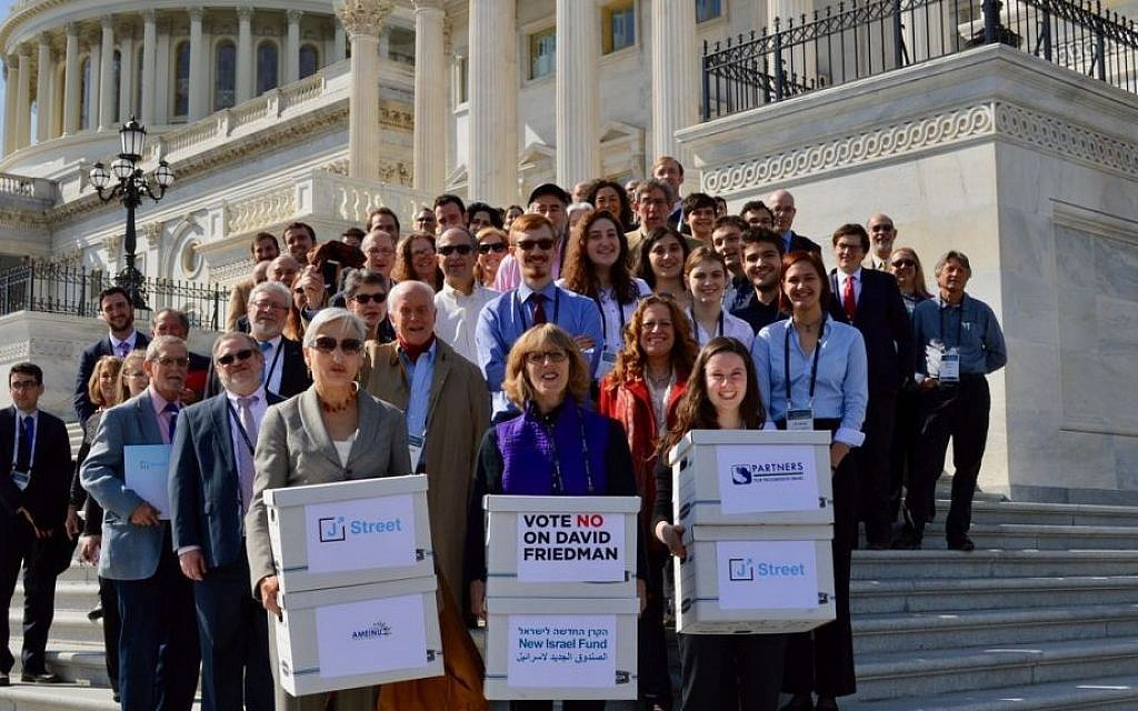 A sign of the polarization of American Jewry: J Street activists deliver a petition to the US Senate opposing the nomination of David Friedman as ambassador to Israel, February 28, 2017. (J Street/JTA)