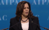US Senator Kamala Harris, a Democrat from California, speaks at AIPAC's 2017 Policy Conference at the Washington Convention Center on March 28, 2017 (screen capture)