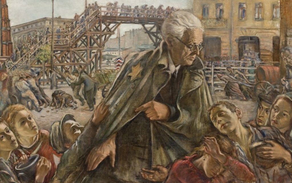 Painting of Chaim Rumkowski, chairman of the Lodz Ghetto's Jewish Council, created by Lodz painter Izrael Lejzerowicz during the ghetto's four-year existence (Public domain)