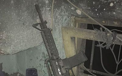 An M-16 rifle found in the home of a wanted Palestinian suspect, March 6, 2017, according to the IDF. (IDF Spokesperson's Unit)