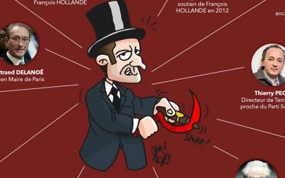 A cartoon published by the center-right French Les Republicains party on March 10, 2017, that seems to employ well-known anti-Semitic tropes in its depiction of rival presidential candidate Emmanuel Macron. (Twitter)