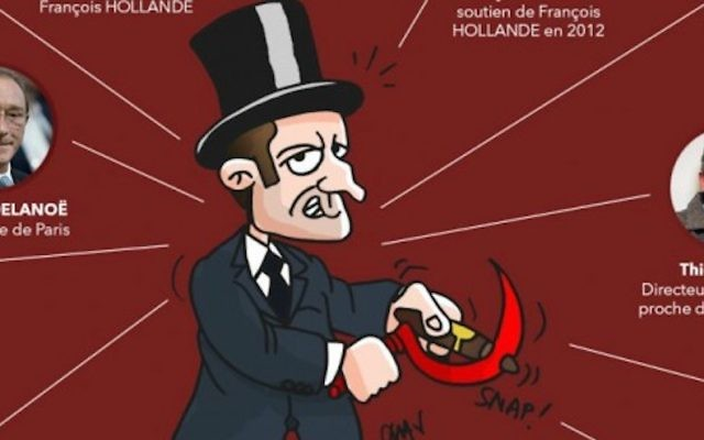 An apparently anti-Semitic cartoon published by the French Republican party on March 10, 2017. (Screenshot from Twitter)
