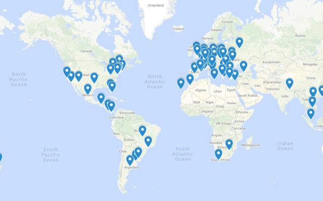 Map showing most of the worldwide locations where the Jewish Connection project Purim gift bags were distributed by Israeli travelers, March 2017. (Google Maps)
