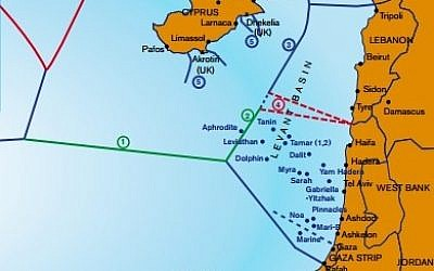 A maritime map of the eastern Mediterranean showing Exclusive Economic Zone borders, including an area of dispute (marked 4) between Israel and Lebanon. Source: IEMed Mediterranean Yearbook 2012 (www.iemed.org/medyearbook)